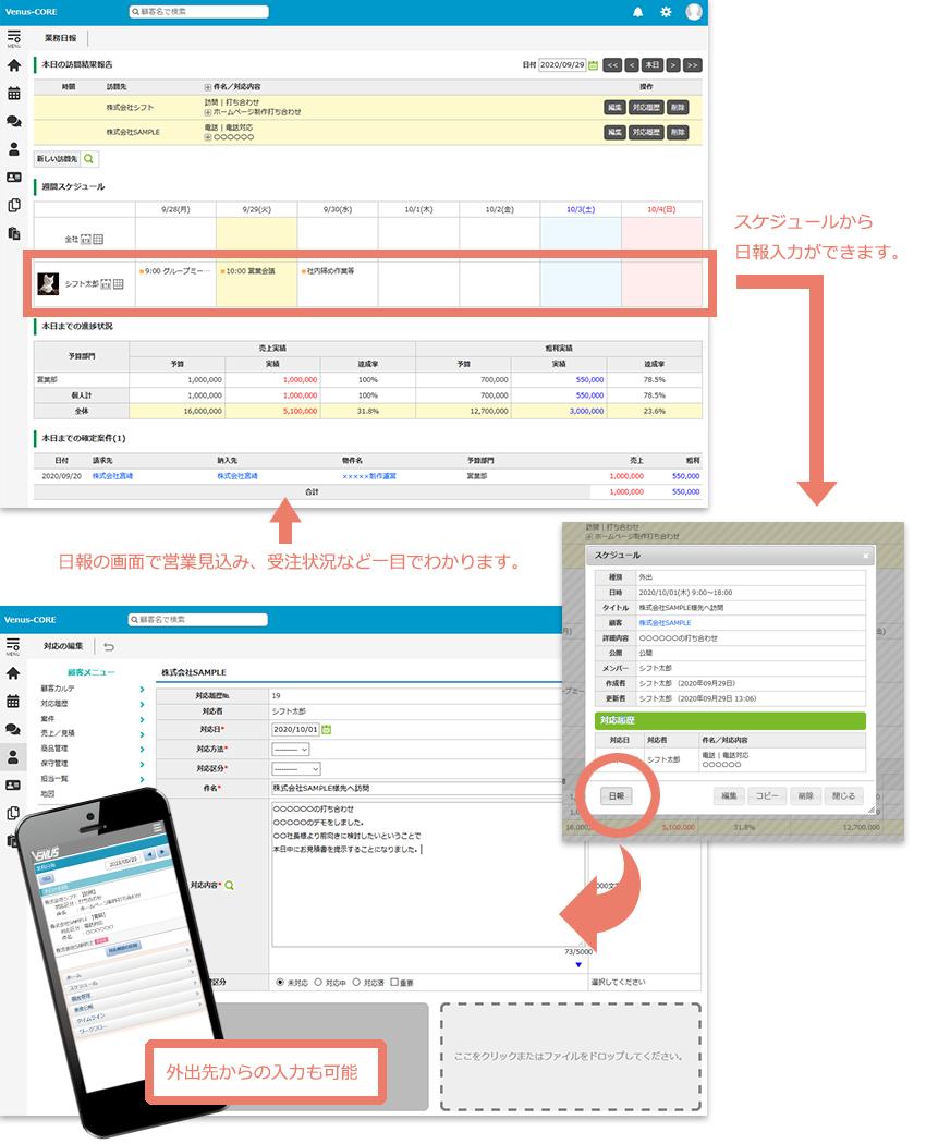 VenusCloud日報管理画面イメージ